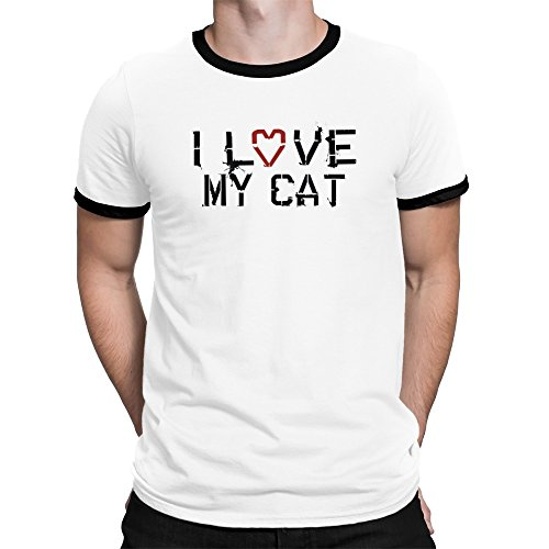 Teeburon I love my Cat Ringer T-Shirt (Ringer Cat T-shirt)