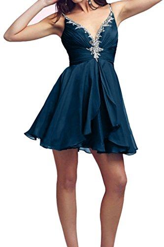 Victory Bridal 2016 Neu Rot Spaghetti-traeger Cocktailkleider Promkleider Partykleider Mini mit Steine Chiffon Dunkel Blau