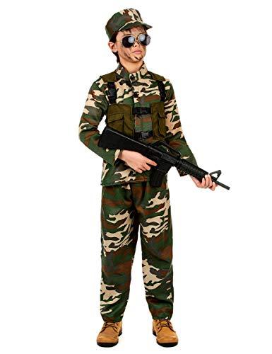 KULTFAKTOR GmbH Gefährlicher Soldat Kinderkostüm Militär grün-braun 122/134 (7-9 ()