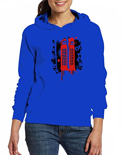 A red callbox Womens Hoodie Fleece Custom Sweartshirts blue