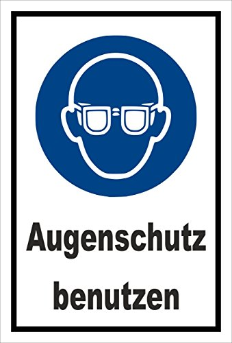 Aufkleber - Gebots-zeichen - Augen-schutz benutzen - entspr. DIN ISO 7010 / ASR A1.3 - 15x10cm - S00361-008-A +++ in 20 Varianten erhältlich -