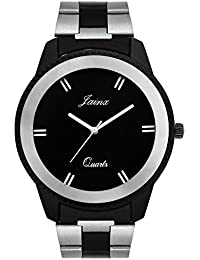 Jainx Two Tone Black Dial Steel Chain Analog Watch For Men & Boys - JM250