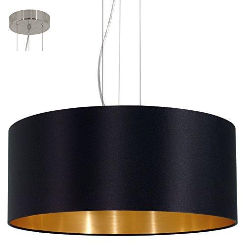 EGLO 31605 Hängeleuchte Maserlo Durchmesser 53 cm Nickel-Matt Schirm, schwarz / gold stahl