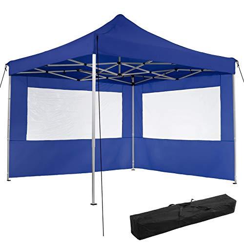 TecTake 800685 Carpa de Jardín 3 x 3m, Plegable, Aluminio, 100% Impermeable, 2 Paneles Laterales, con Cuerdas Tensoras, Piquetas y Bolsa (Azul   no. 403150)