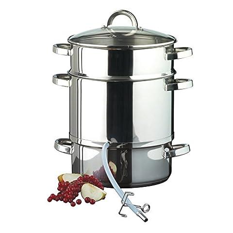Entsafter aus Edelstahl induktionsgeeignet ca. 8 Liter Füllvolumen Dampfentsafter mit Glasdeckel - schonendes Entsaften von Obst und