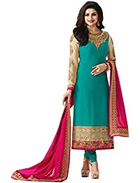 Women's Latest Turquoise Embroidered Heavy Semi Stitched Party Wear Wedding Collection Straight Cut Salwar Suit...