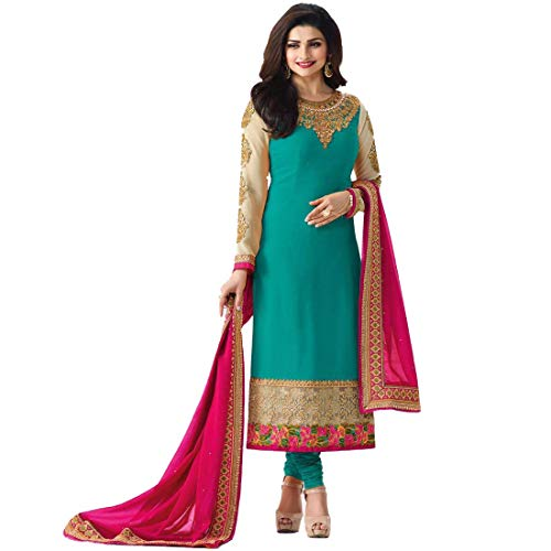 Monika Silk Mill Women\'s Latest Rama Heavy Embroidered Wedding Collection Party wear Traditional Straight Cut Salwar Suit Dress Materials With Heavy Embroidered Dupatta