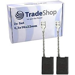 2 escobillas de carbón abrasivo 6,3 x 16 x 22 mm para Bosch GWS 21-230 JH GWS 21-230 HV GWS 24-230 JBV GWS 26-180 B GWS 26-180 H