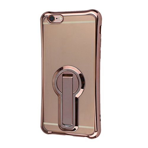 Etui iPhone 6 Plus TPU Transparent, Coque iPhone 6S Plus TPU Case, Moon mood® Soft TPU Étui Arrière Housse avec Support Fonction pour iPhone 6 Plus/6S Plus 5.5 pouce Souple Silicone Coquille Back Case Or Rose