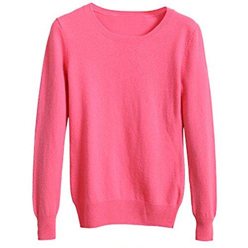 VOBAGA Womens Casual Elegante o collo manica lunga di colore solido del pullover camicetta Tops Maglione Luce rossa