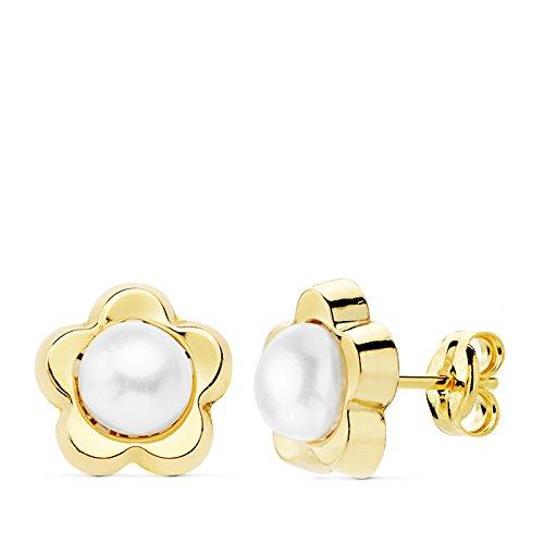 Ohrringe Mädchen Damen Blume 18K Gold Gelbgold 9mm 1. Kommunion -