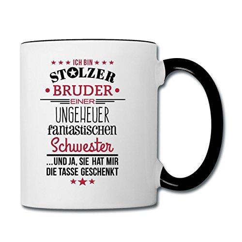 Spreadshirt Stolzer Bruder Fantastische Schwester Spruch Tasse zweifarbig, Weiß/Schwarz