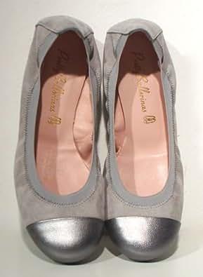 pretty ballerinas softe flats leder grau platin silber gr. Black Bedroom Furniture Sets. Home Design Ideas