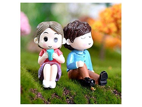 Guai Home Puppenhaus sitzend Paare Hochzeit Dekorationen Micro Landschaft Ornament Terrarium Miniatur Fee Garten (Bunte)