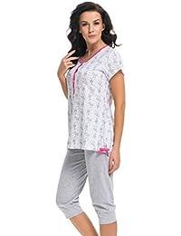 dn nightwear Damen Schlafanzug / Pyjama für Schwangerschaft und Stillzeit PM.9203