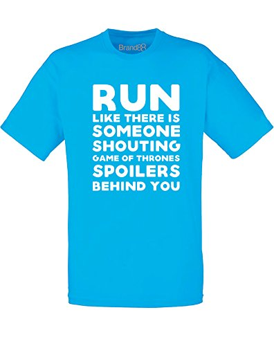 Brand88 - Shouting Game of Thrones Spoilers, Mann Gedruckt T-Shirt Azurblau/Weiß