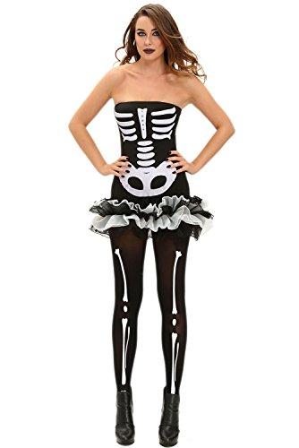 Skelett Kleid & Bones Hose Halloween Karneval Kostüm