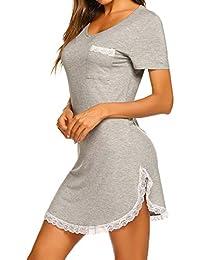 ce707b95f0c MAXMODA Chemise de Nuit Femme Pyjama Manche Courte Robe de Nuit Été ...