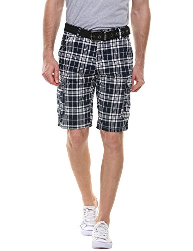 HOTOUCH Herren Shorts Kariert Shorts Cargo Bermuda Shorts Kurze Hose Karo Shorts Baumwolle