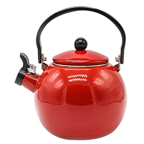 SCJS Enamel Kettle Thickened Enamel Kettle Large Capacity Spherical Kettle Self-Sounding Pot Kettle Household Gas Induction Cooker General (Color : RED) Quart Flame Top