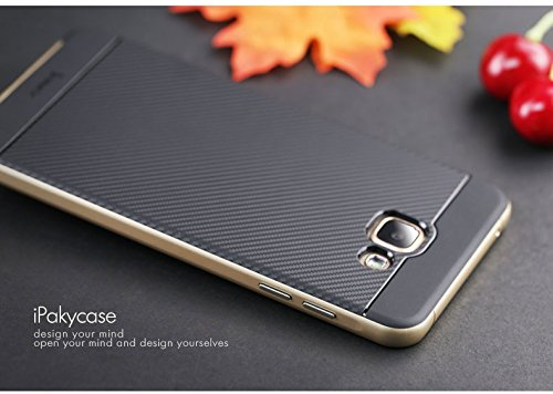 Original iPaky Brand Luxury High Quality Silicon Black Back + PC Golden Bumper Frame Shockproof Back Cover for Samsung Galaxy A5 -2016 Edition [SM-A510F]