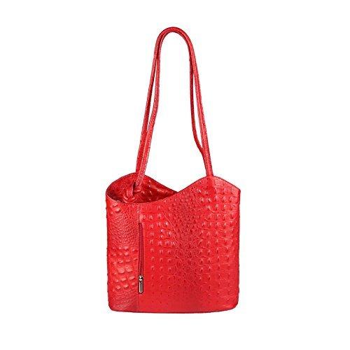 OBC Made in Italy Ledertasche Damentasche 2in1 Handtasche als Rucksack oder Umhängetasche/Schultertasche Tablet/Ipad mini bis ca. 10-12 Zoll 27x29x8 cm (BxHxT) (Dunkelblau (Lackleder)) Rot (Kroko)
