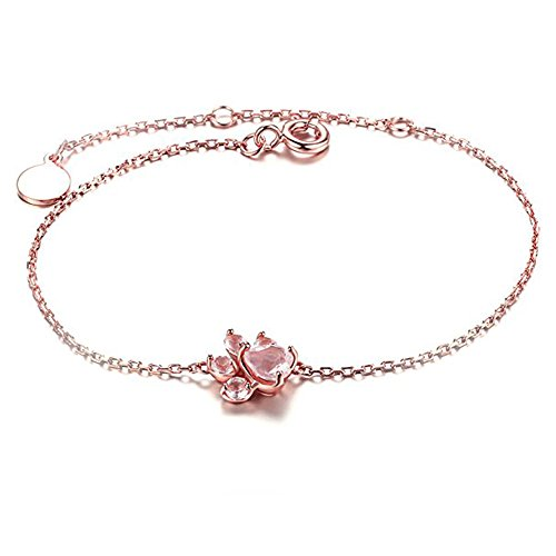 Natural Pink Quartz Bracelet for Women, Letone Cat Paw Bracelet 18 K Rose Gold Plated 100% Sterling Silver