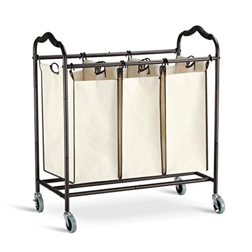 Langria cesta per biancheria cesto portabiancheria carrello lavanderia con 3 sacchetti 4 ruote e maniglie antiscivolo beige bag