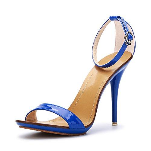 OCHENTA Sandali stiletto estivi con cinturino alla caviglia, chiusura fibbia, per donna Blu