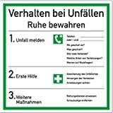 Schild Verhalten bei Unfällen, Kunststoff 18 x 18 cm (Verhaltensregeln, Notfall, Erste Hilfe Maßnahmen) wetterfest