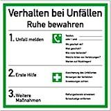 Schild Verhalten bei Unfällen, Kunststoff 18 x 18 cm (Verhaltensregeln,...