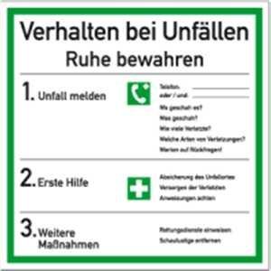 Schild Verhalten bei Unfällen, Kunststoff 18x18 cm (Verhaltensregeln, Notfall, Erste Hilfe Maßnahmen) praxisbewährt, wetterfest