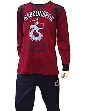Trabzonspor Kinder Pyjama Bordeaux Streifen Logo
