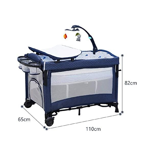 Yyqt Baby Cot,Baby Changing Station Travel Cot Foldable, Padded Borders, Carry Bag, Rounded Edges, 6 Designs Yyqt ♥ Premium & Durable Material:The cot made of iron pipe and Oxford cloth, sturdy and stable, which also guarantees a long life ♥See-through safety mesh:It features mesh cloth on both sides, this netted areas allow your baby to see out clearly as well as an onlooker to see in to her/him, and it also offers great ventilation for your baby. ♥Easy to Move:It designed in two wheels and two legs, you can move it around easily without any problems with the help of two wheels, and there is no issue to worry the stability due to the two sturdy legs. 7