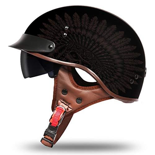 YAJAN-helmet Jet Helm Halbschalen mit Sonnenblende Scooter Helm Motorrad Helm Chopper Roller Fahrradhelm Damen und Herren Gedruckte Indianer 57-61cm