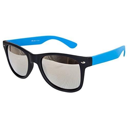 Ciffre Sonnenbrille Nerdbrille Nerd Retro Look Brille Pilotenbrille Vintage Look - ca. 80 verschiedene Modelle Türkis Schwarz Verspiegelt