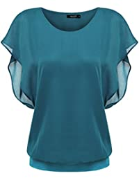 Zeagoo Damen Fledermaus Batwing Chiffonnbluse Tunika T-Shirt Top Bluse Kurzarm Rundkragen Sommer Casual Loose Fit