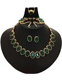 Catalyst Gold Plated Stylish Green Stones Studded Necklace Set,Bracelet,Finger Ring Combo Set For Women & Girls