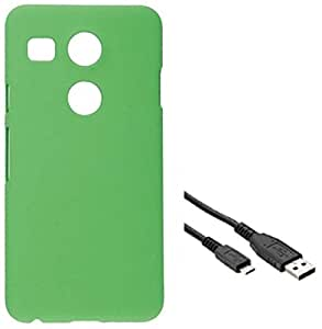 Tidel Green Matte Finish Rubbrised Slim Hard Back Cover For LG Nexux 5X With USB Data Cable
