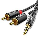 UGREEN Cinch auf Klinke Kabel Cinch Kabel 3.5mm Klinke auf Chinch Adapter HiFi Audio Kabel Nylon Aux Kabel Klinkenkabel mit Winzigem Metallstecker 2m