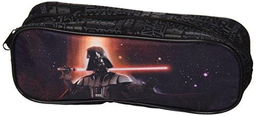 PERLETTI 13800 Estuche escolar Niño Star Wars - Bolsa para lapices con estampado Darth Vader - Practico estuche portatodo para la escuela La guerra de las galaxias - Negro - 7.5x23x5.5 cm