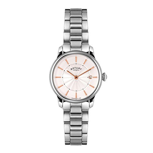 Rotary Women's Quartz Watch with Mother of Pearl Dial Analogue Display and Silver Stainless Steel Bracelet LB02770/07