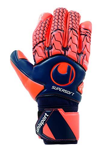uhlsport Torwarthandschuhe Next Level-Supersoft-In den Größen 6-11 Innenhand Keeper-Handschuhe entwickelt mit Profis-Optimaler Halt und Grip, langlebig-Marine/Fluo rot, 9,5