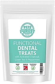 Pets Purest Grain Free Dog Dental Treats - 100% Natural Plaque Off Tartar Freshen Breath - Activated Charcoal,