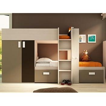 lits superpos s julien 2x90x190cm armoire int gr e pin blanc et chocolat. Black Bedroom Furniture Sets. Home Design Ideas