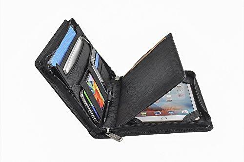 Kompakte professionelle Leder Organizer Schreibmappe für iPad Mini 4, A5 Papier,Schwarz