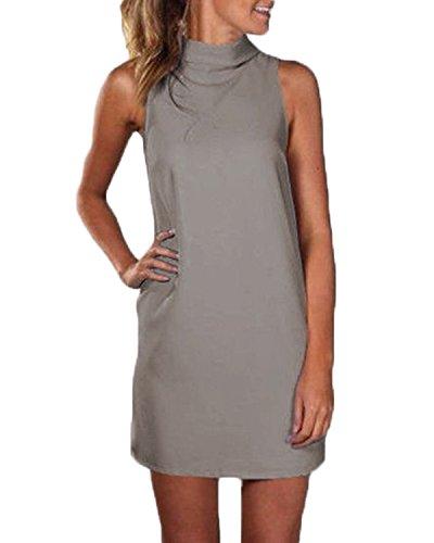 ZANZEA Femmes Mode Mini Robe Soirée Col Roulé Sans Manches Plaine Dress Décontracté Tops Kaki