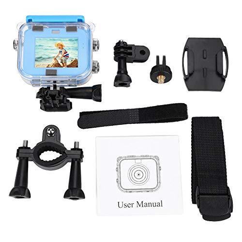 Videocámara del juguete para los niños cámara de vídeo impermeable con pantalla 1080P de 1.77 pulgadas Acción Cámara Deportiva para actividades al aire libre juguete de dibujos animados de color azul