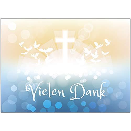 15 x Dankeskarten mit Umschlag - Zauberhafter Verlauf Tauben Fisch Kreuz blau gelb - Danksagung/Bedanken/Danke sagen zur Taufe, Kommunion, Konfirmation, kirchlich