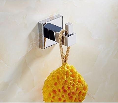 Lifechaser en cuivre de salle de bain Serviette Crochet Robe Vêtements Crochet support mural, Chrome poli